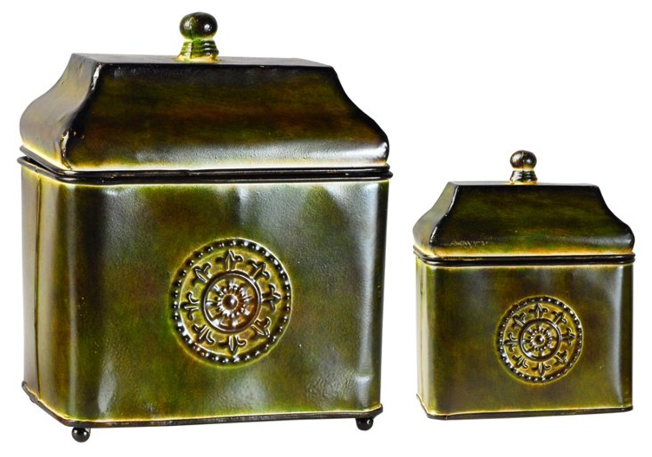 S/2 Green Decorative Boxes
