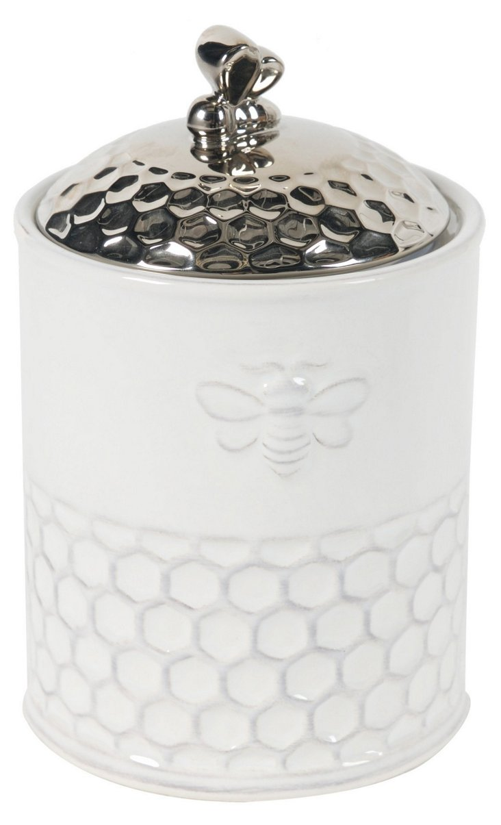 Small Porcelain Bee Canister w/ Lid