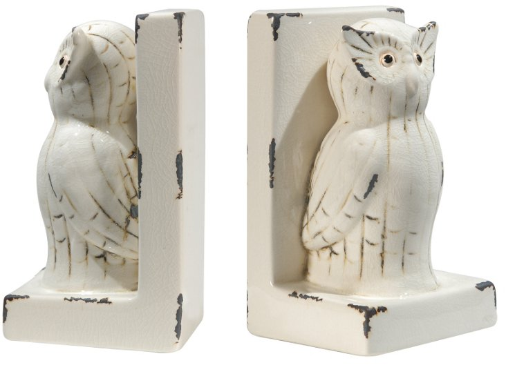 Pair of Owl Bookends, White