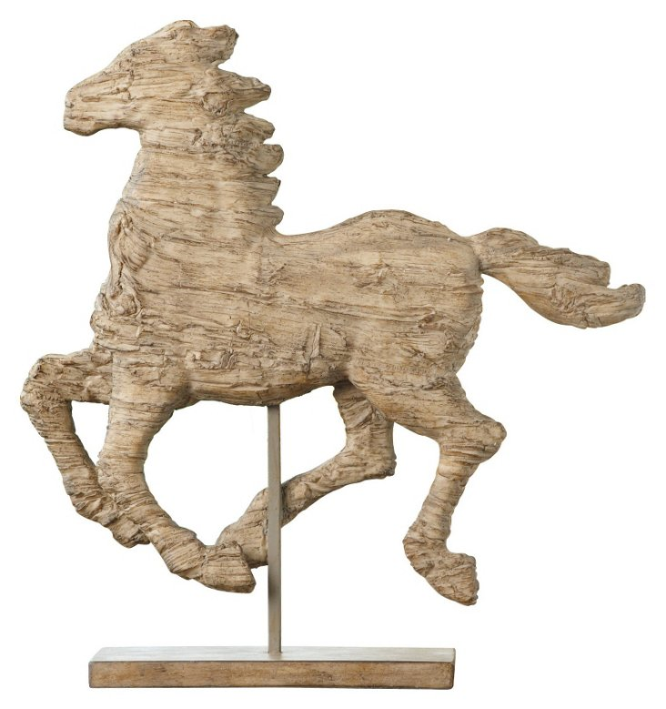 "14"" Galloping Horse on Pedestal, Natural"