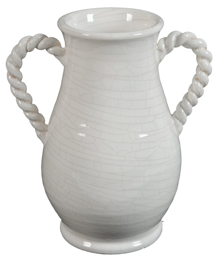 "11"" French Twist Vase, White"