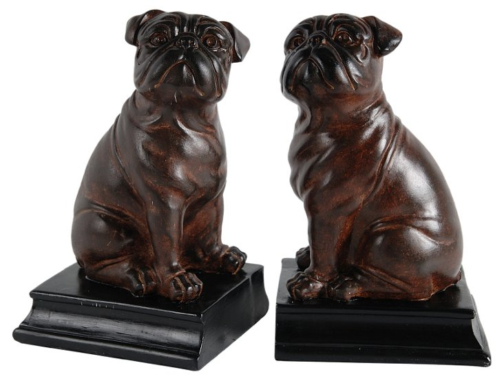 Pair of Bulldog Bookends, Brown