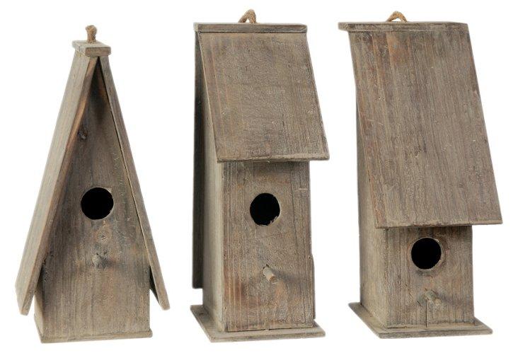 """Asst. of 3 11"""" Wooden Birdhouses, Brown"""