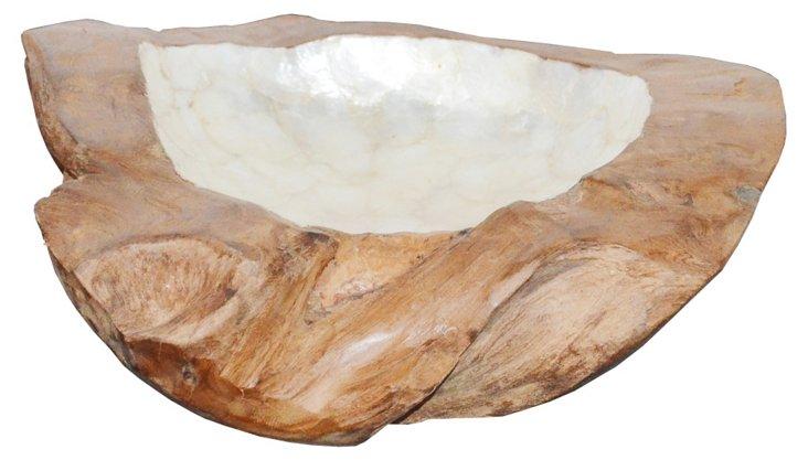 "12"" Chalet Bowl, Brown/Silver"