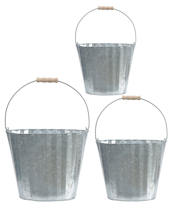 Indented Metal Planters, Asst. of 3
