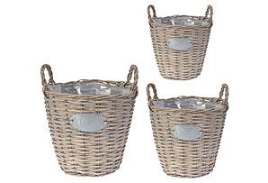 Vintage Basket Planters, Asst. of 3