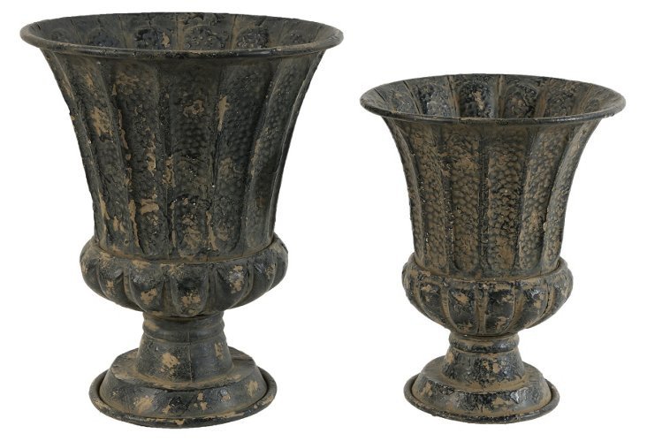 Asst. of 2 Weathered Planters, Black