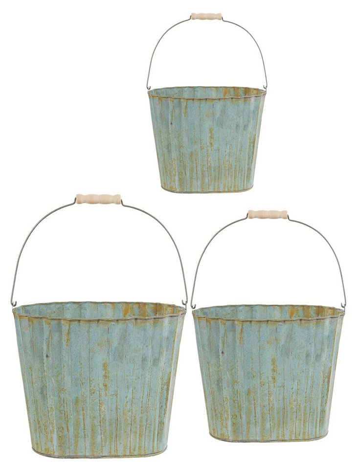 Asst. of 3 Indented Rustic Planters, Blue