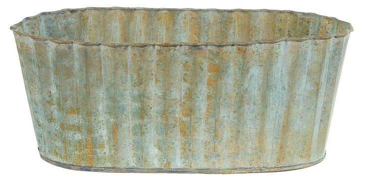 "15"" Corrugated Rustic Planter, Blue"