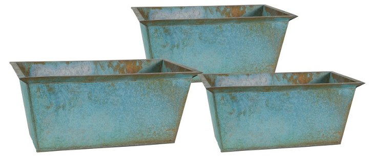 S/3 Long Rimmed Rustic Planters