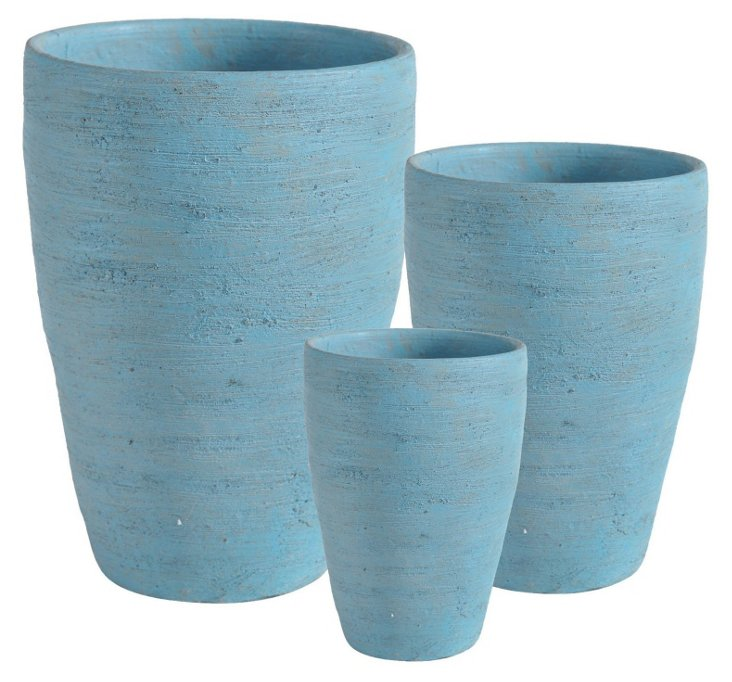Tall Classic Planters, Asst. of 3, Blue