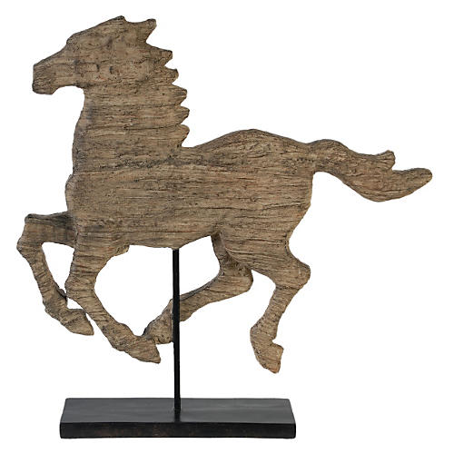 "20"" Galloping Horse on Pedestal, Brown"