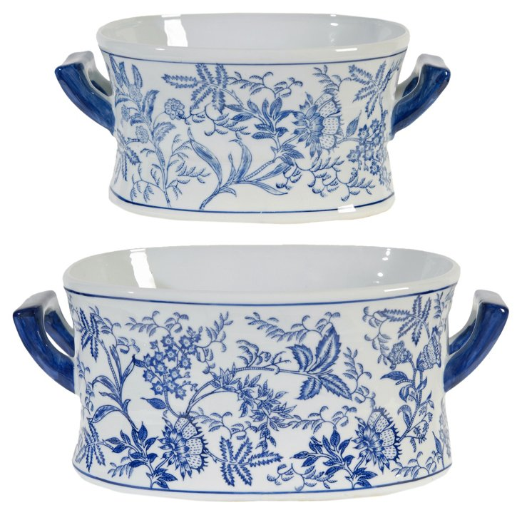 Asst. of 2 Floral Bowls with Handles