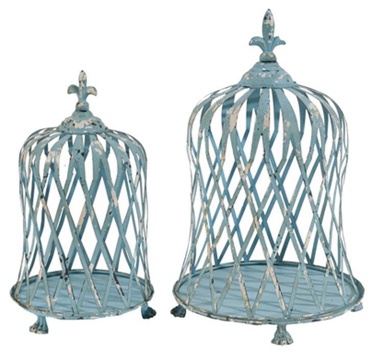 Asst. of 2 Birdcage Candleholders, Blue