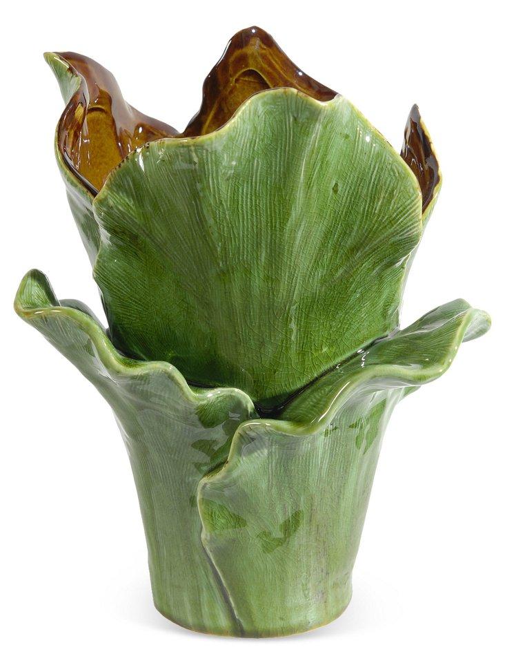 "12"" Succulent Vase, Green/Amber"