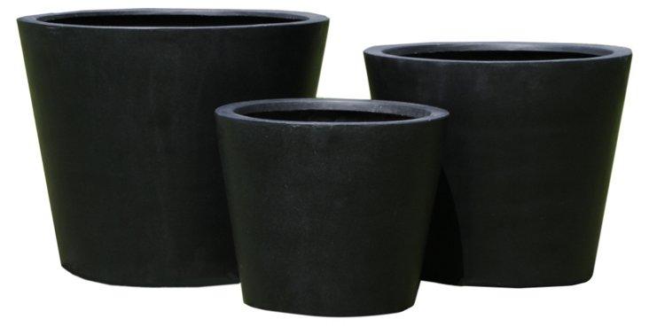 S/3 Round Modern Planters, Black