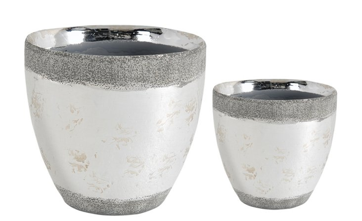 Asst. of 2 Metallic Planters, Silver