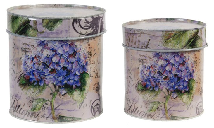 Floral Canisters, Asst. of 2