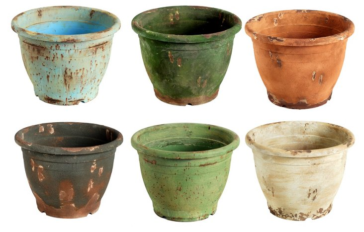 "Asst. of 6 15"" Bright Rustic Planters"