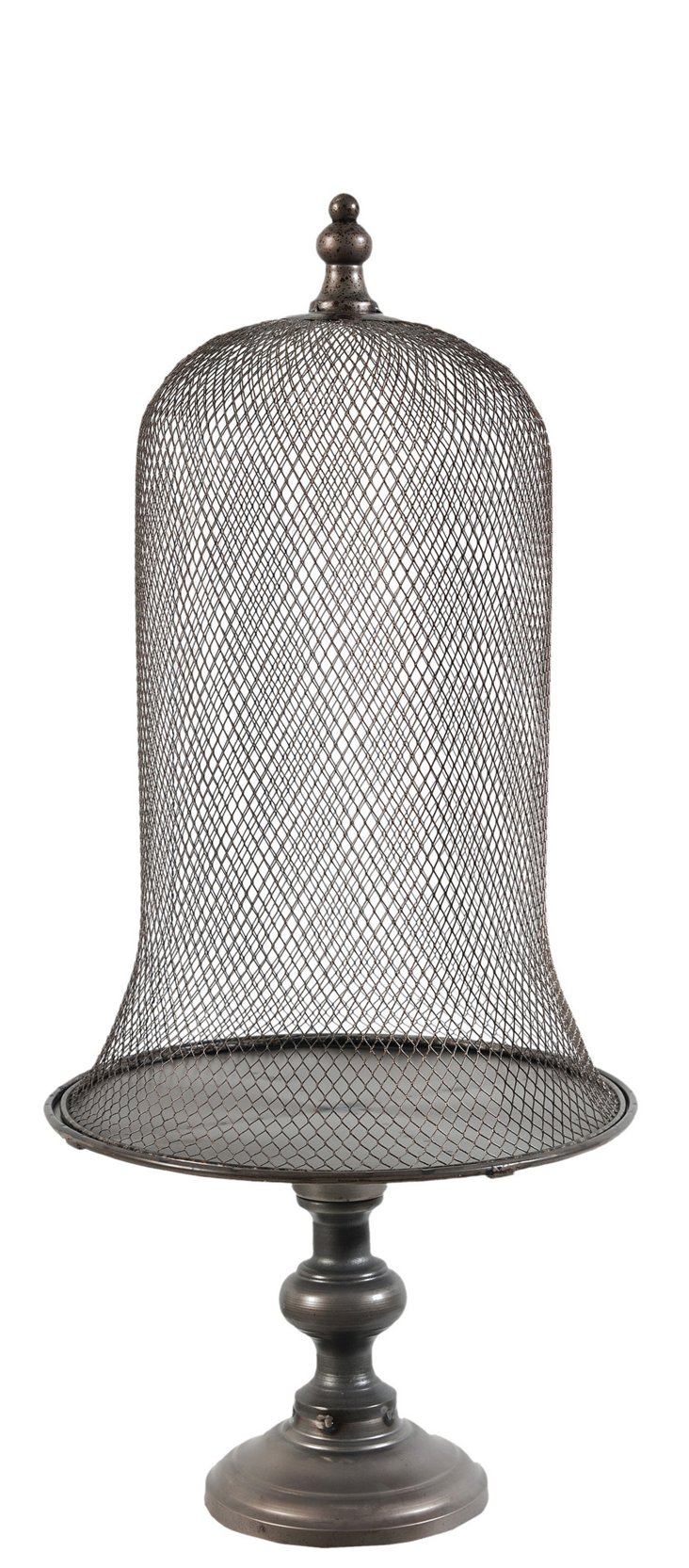 "28"" Metal Pedestal Cloche, Gray"