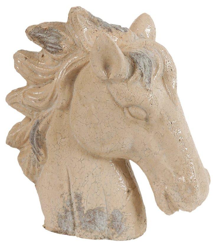 """14"""" Horse Statue, Cream"""