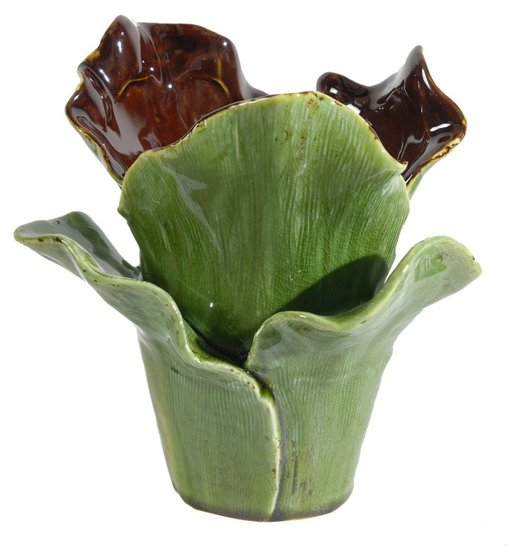 "8"" Succulent Vase, Green/Amber"