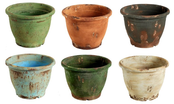 """18"""" Bright Rustic Planters, Asst. of 6"""