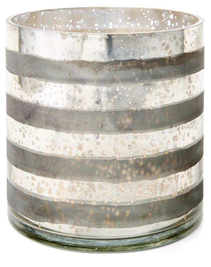 "7"" Striped Glass Vase, Silver"