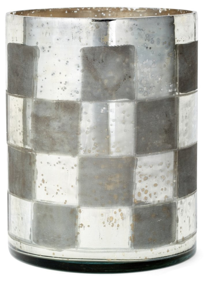 "9"" Checkered Glass Vase, Silver"