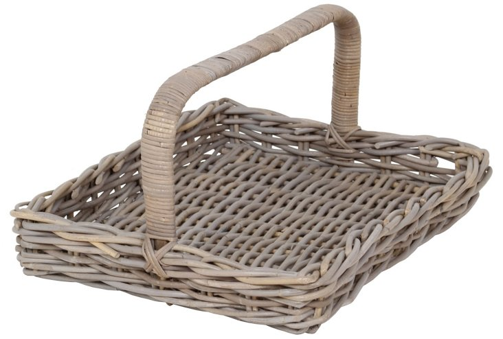 "24"" Wicker Basket Tray, Gray"