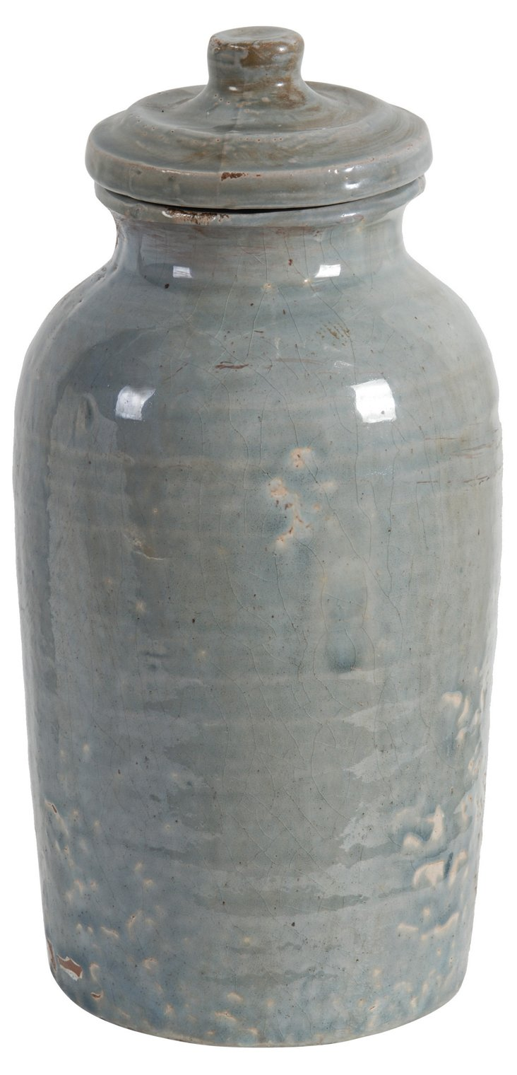 "13"" Sea Lidded Jar, Gray"