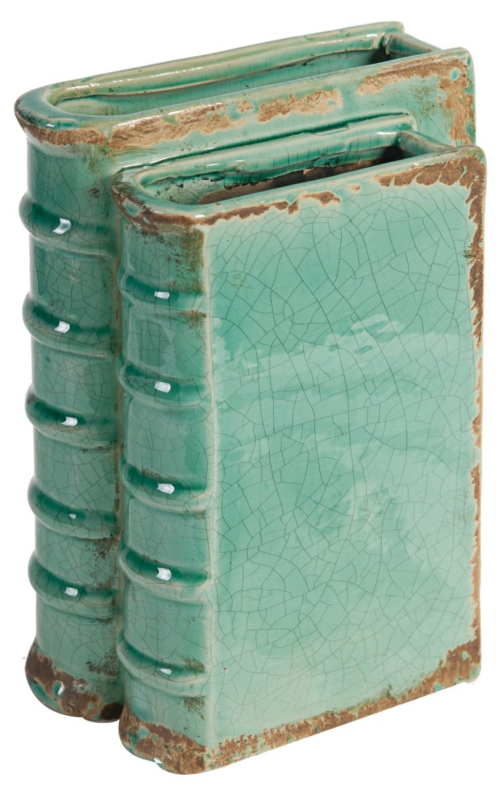 "9"" Ceramic Book Vase, Blue"