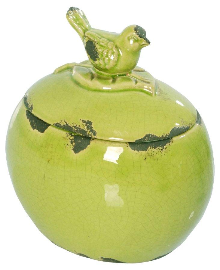 """7"""" Oval Bird Jar, Green"""
