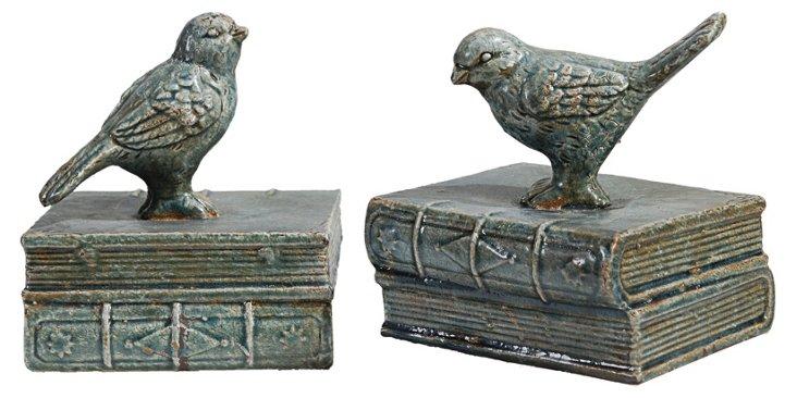 Asst. of 2 Decorative Birds on Books