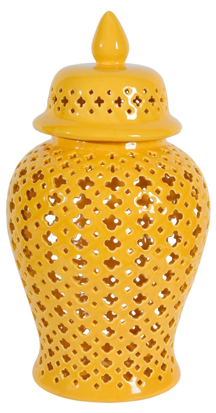 "17"" Lidded Pierced Jar, Yellow"