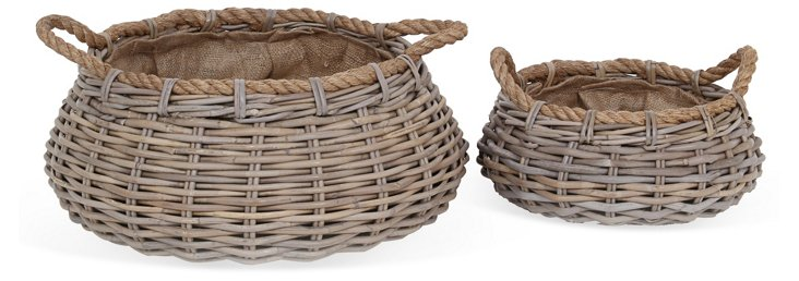 Asst. of 2 Short Round Rattan Baskets