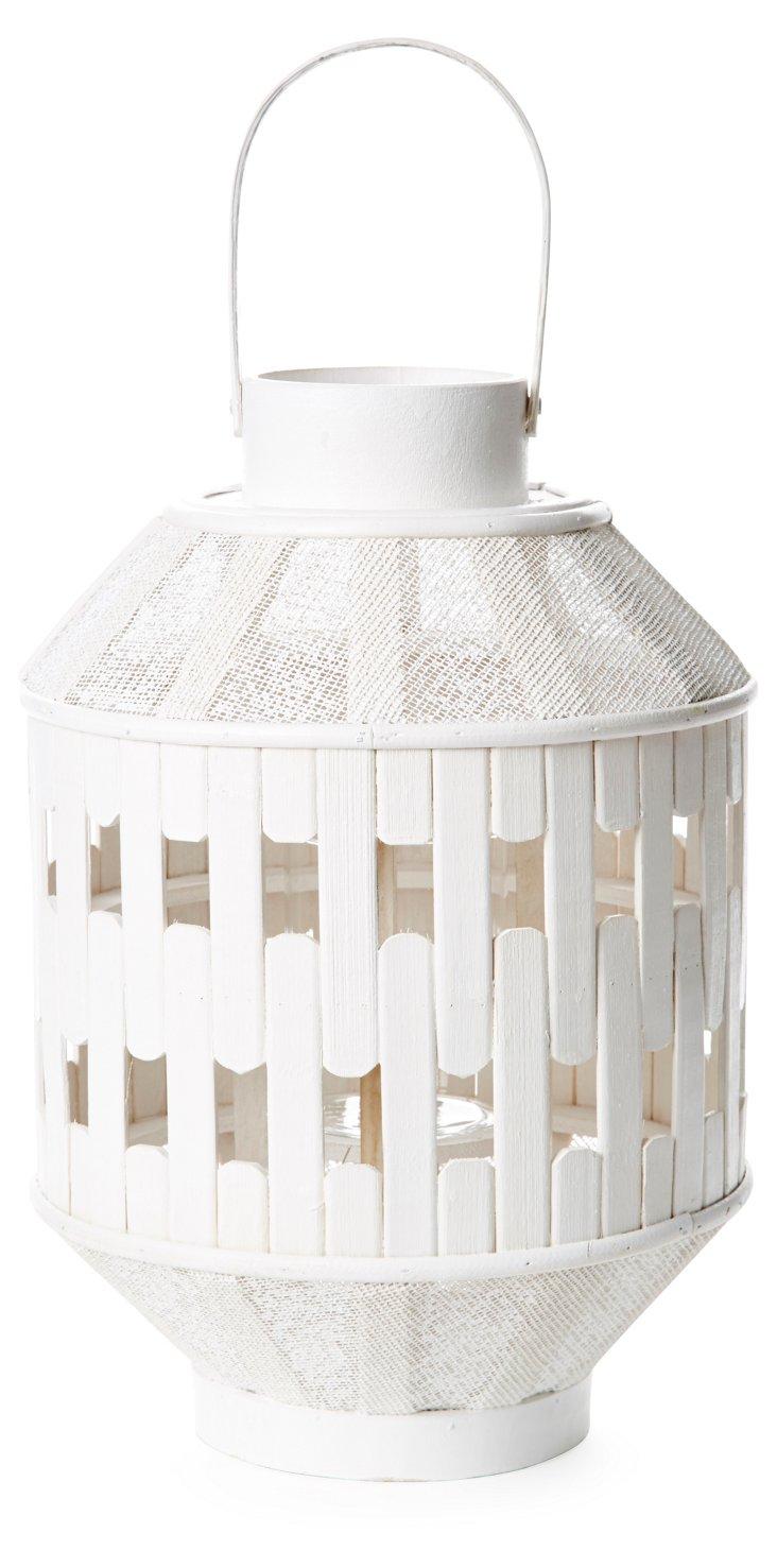"""Pair of 14"""" Bamboo Lanterns, White"""