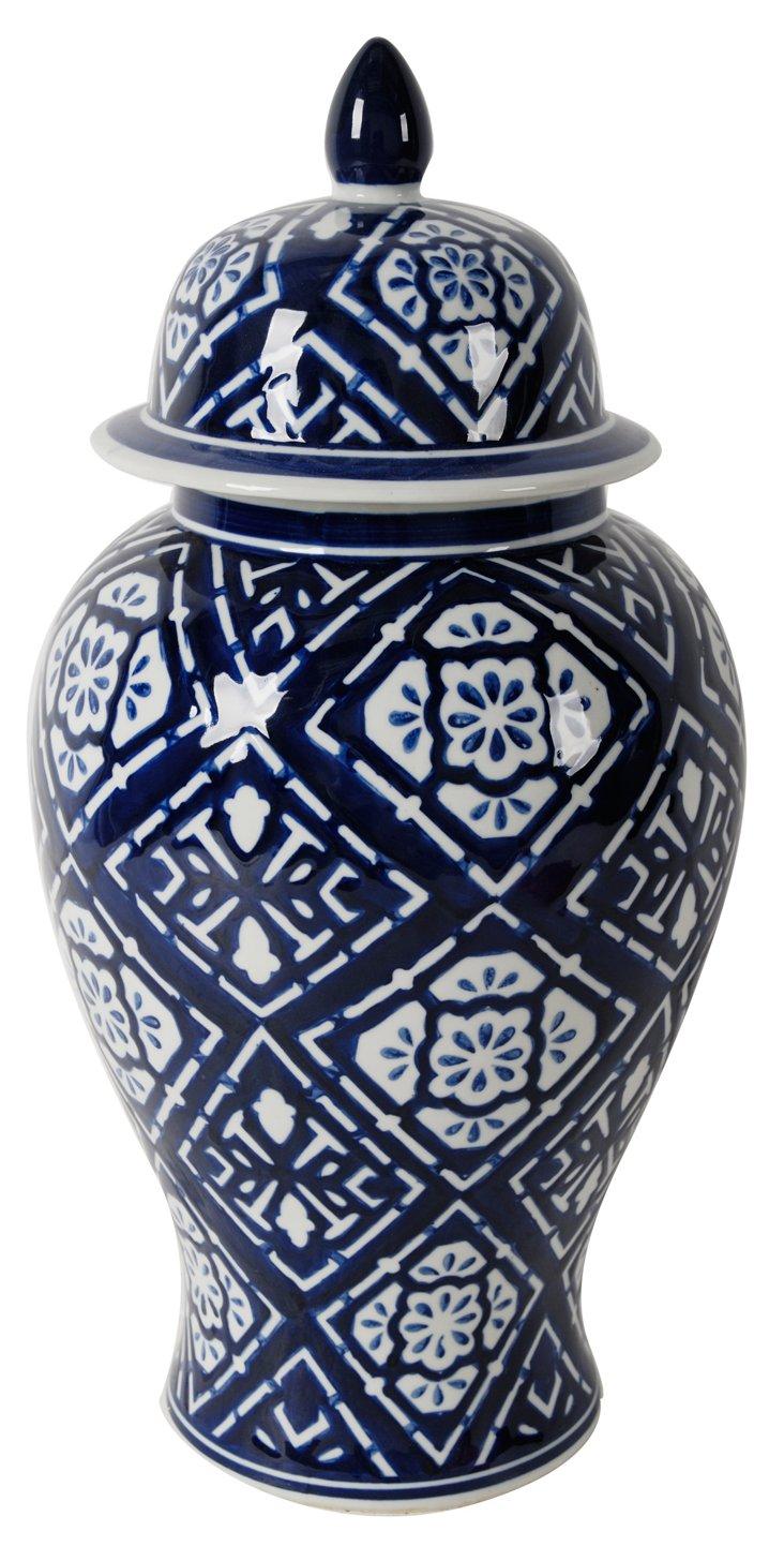 """20"""" Ceramic Ginger Jar, Blue/White"""