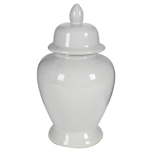 "17"" Ginger Jar, White"