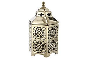 "8"" Cut Out Ceramic Lantern, Gold"