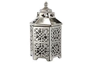"8"" Cut Out Ceramic Lantern, Silver"