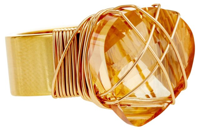 Golden Swarovski Wrapped Ring