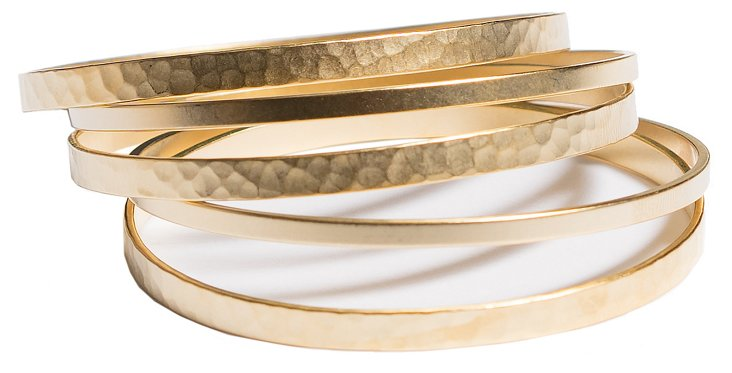 S/5 Hammered & Smooth Bangles