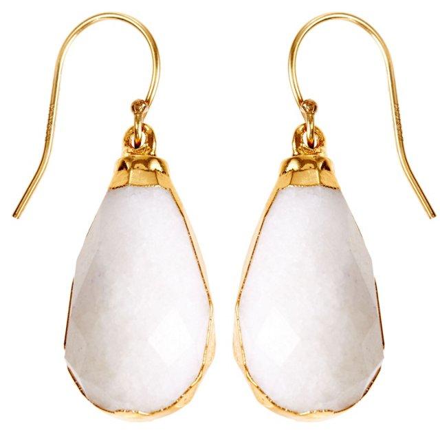White Agate Briolette Earrings