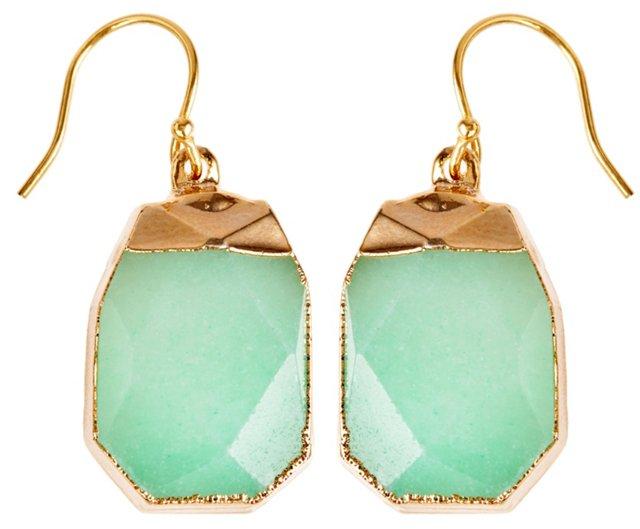 Charlotte Nugget Earrings, Mint Jade