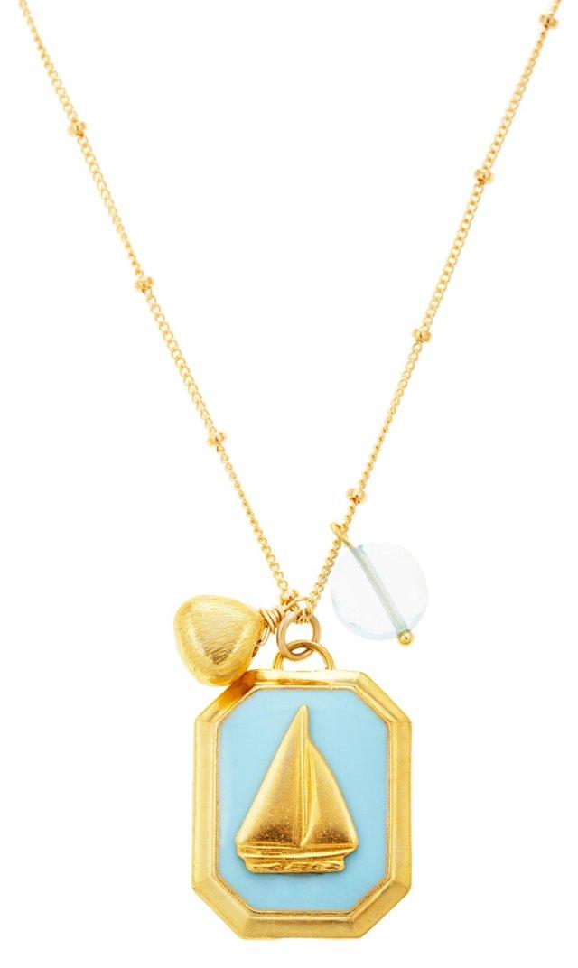 Irina Sailboat Necklace, Light Blue