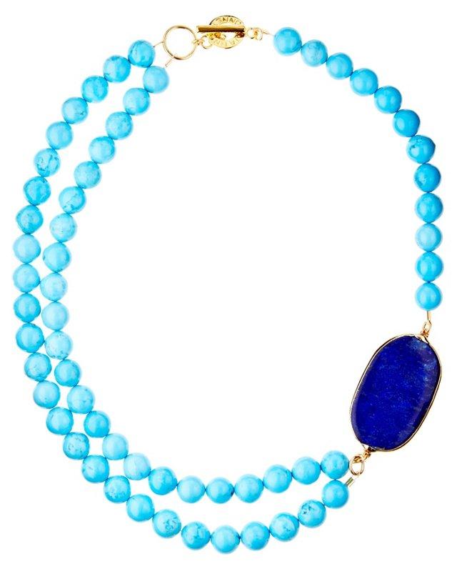 Turquoise & Lapis Beaded Kelsey Necklace