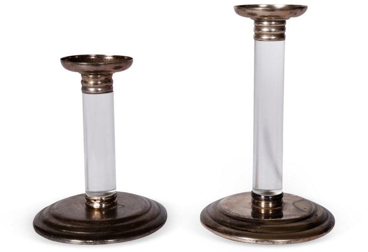 Lucite & Silverplate Candleholders, Pair