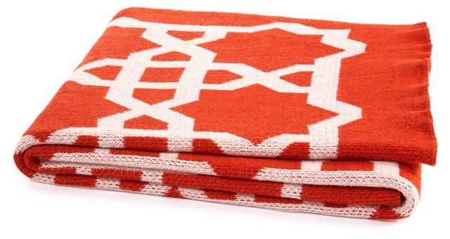 Moroccan Cotton-Blended Throw, Paprika