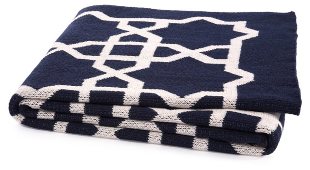 Fretwork Cotton-Blend Throw, Marine